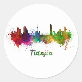 Tianjin skyline in watercolor classic round sticker
