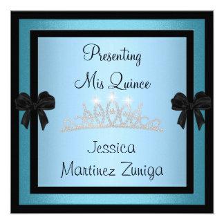 Tiara 1 formal de la joya del negro azul de Quince Invitacion Personalizada