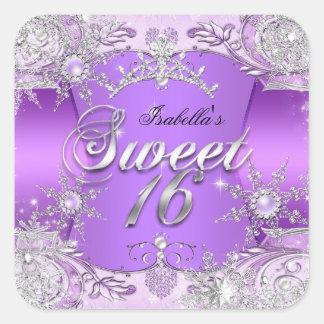 Tiara 2 del copo de nieve de la púrpura del dulce pegatina cuadrada