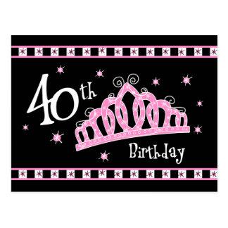 Tiara 40th Birthday Postcard Invitation