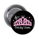 Tiara 40th Birthday Queen DK 2 Inch Round Button