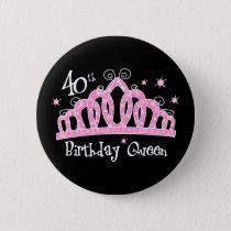 Tiara 40th Birthday Queen DK Button