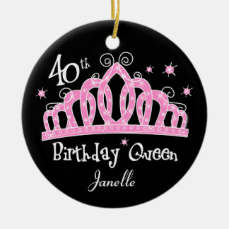 Tiara 40th Birthday Queen DK Ceramic Ornament
