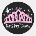 Tiara 40th Birthday Queen DK Round Stickers