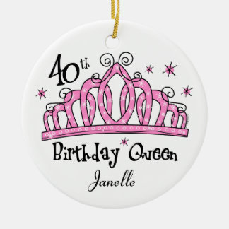 Tiara 40th Birthday Queen LT Ceramic Ornament