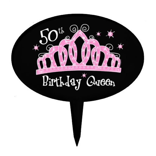 Tiara 50th Birthday Queen DK Oval Cake Picks