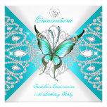 Tiara azul de la mariposa del décimo quinto trullo invitacion personalizada
