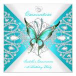Tiara azul de la mariposa del décimo quinto trullo invitación 13,3 cm x 13,3cm