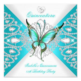 """Tiara azul de la mariposa del décimo quinto trullo invitación 5.25"""" x 5.25"""""""