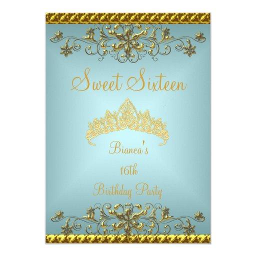 """Tiara azul del diamante del oro del décimosexto invitación 5"""" x 7"""""""