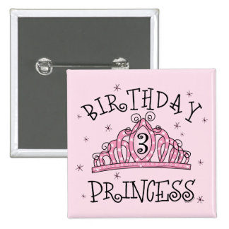 Tiara Birthday Princess 3rd Birthday 2 Inch Square Button
