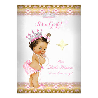 """Tiara Brunett del oro blanco del rosa de la Invitación 4.5"""" X 6.25"""""""