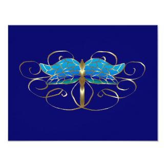 Tiara de la libélula del oro que casa la tarjeta invitación 10,8 x 13,9 cm