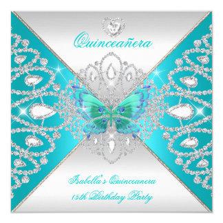"""Tiara de plata 2 de la mariposa del décimo quinto invitación 5.25"""" x 5.25"""""""