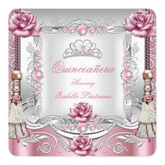 """Tiara de plata de las borlas rosadas de los rosas invitación 5.25"""" x 5.25"""""""