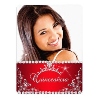 Tiara de princesa Red Quinceanera Photo Silver Invitación 16,5 X 22,2 Cm