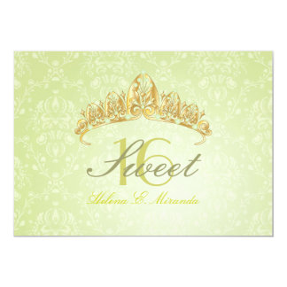 Tiara del dulce 16/del damasco/invitaciones verdes invitación 12,7 x 17,8 cm