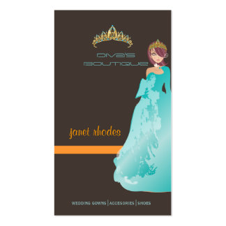 Tiara/diva's boutique/dark taupe/teal/orange business cards