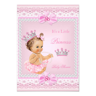 Tiara Girl Princess Baby Shower Pink Pearls Brown Card