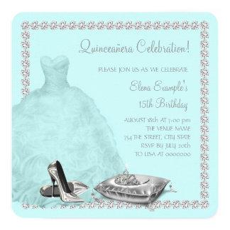 Tiara High Heel Shoes Teal Blue Quinceanera Card