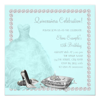 Tiara High Heel Shoes Teal Blue Quinceanera Personalized Invitations