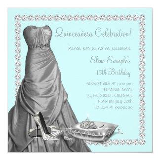 Tiara High Heel Shoes Teal Blue Quinceanera Custom Invitation