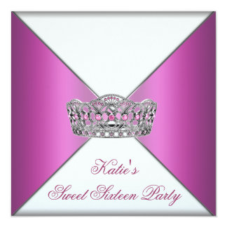 "Tiara Hot Pink Sweet Sixteen Party 5.25"" Square Invitation Card"