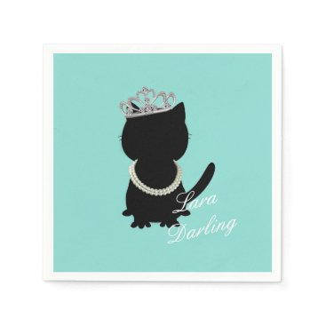 Tiara Party Teal Blue Tiffany Cat Party Napkins