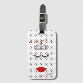 Tiara Party Where's My Lipstick Favors Travel Luggage Tag
