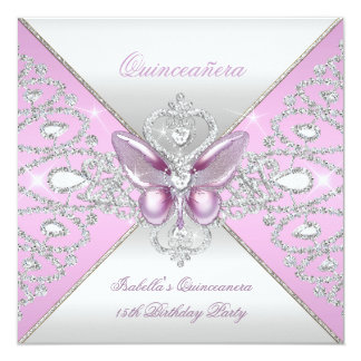 Tiara Pink Butterfly Quinceanera 15th Party Card