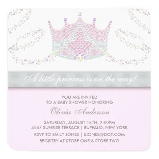 "Tiara Pink Gray Princess Baby Shower 5.25"" Square Invitation Card"