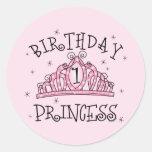 Tiara Princess 1st Birthday Classic Round Sticker