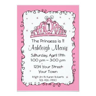 "Tiara Princess 1st Birthday Custom Invitation 5"" X 7"" Invitation Card"