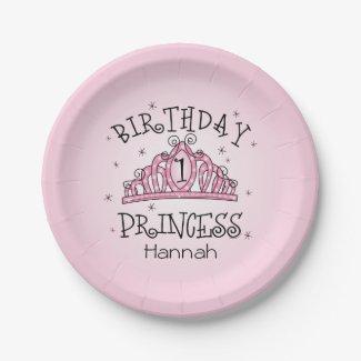 Tiara Princess 1st Birthday Paper Plate