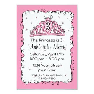 "Tiara Princess 3rd Birthday Custom Invitation 5"" X 7"" Invitation Card"