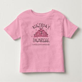 Tiara Princess 3rd Birthday Custom Toddler T-shirt