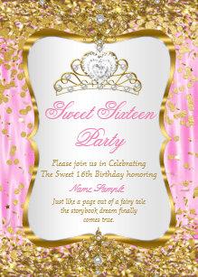 Princess birthday invitations zazzle tiara princess sweet 16 pink gold white invite filmwisefo