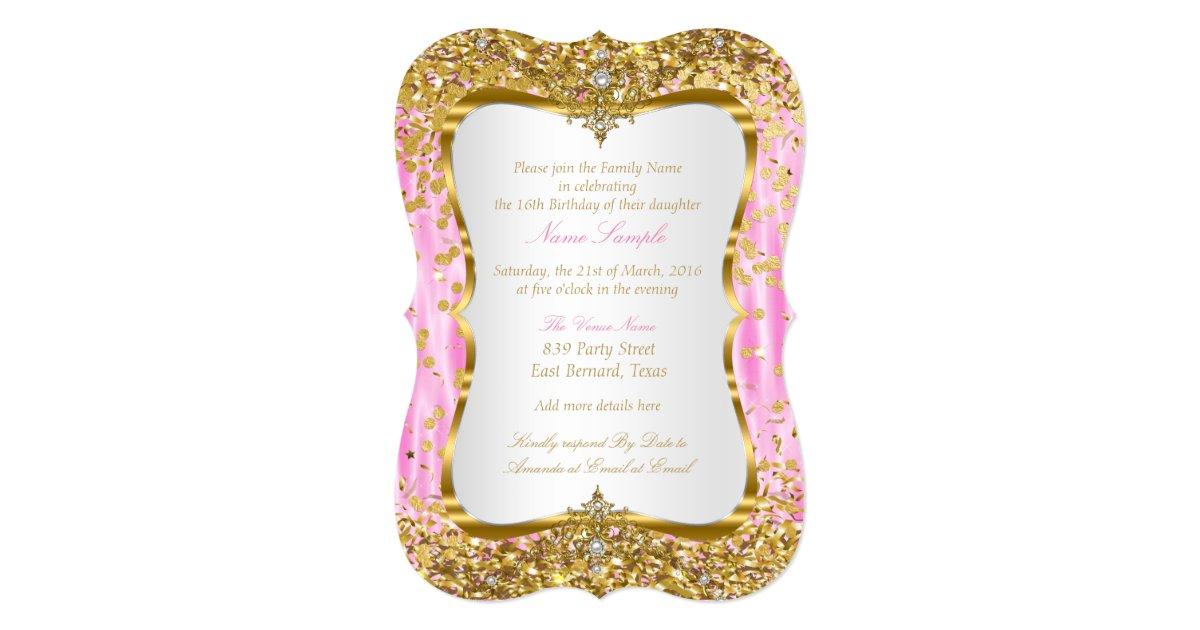 Tiara Princess Sweet 16 Pink Gold White Invite Zazzle