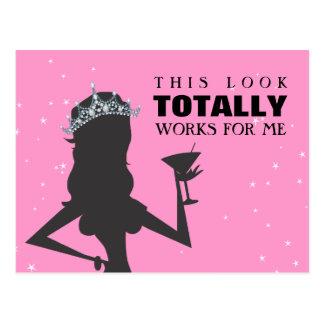 Tiara Princess with a Cocktail Funny Postcard