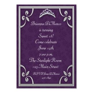 Tiara Purple Silver Invitation