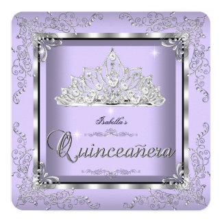"""Tiara púrpura 3 del diamante de la plata de la invitación 5.25"""" x 5.25"""""""