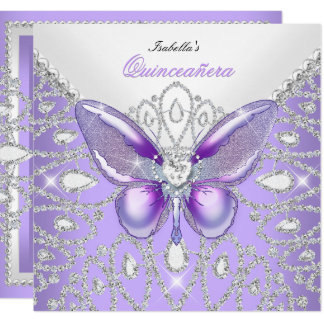 Tiara Quinceanera 15th Diamonds Purple Butterfly Card