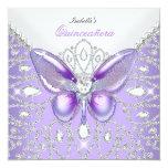 """Tiara Quinceanera 15th Diamonds Purple Butterfly 5.25"""" Square Invitation Card"""