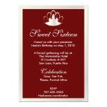 Tiara roja blanca Invitation-Cust. del dulce Invitaciones Personalizada