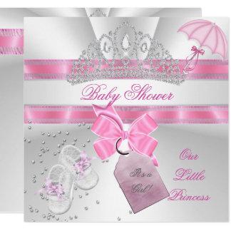 """Tiara rosada blanca del chica de la princesa invitación 5.25"""" x 5.25"""""""