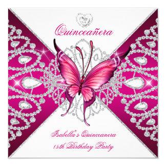 """Tiara rosada oscura de la mariposa del décimo invitación 5.25"""" x 5.25"""""""