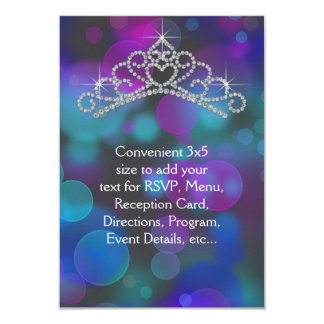 Tiara rosada púrpura RSVP del trullo de uso Invitación 8,9 X 12,7 Cm