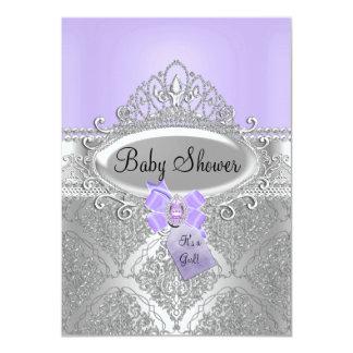 Tiara & Silver Damask Purple Baby Shower Invite