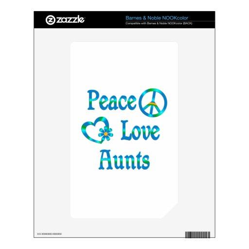 Tías del amor de la paz calcomanía para NOOK color