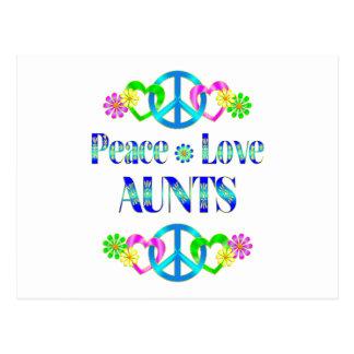 Tías del amor de la paz tarjeta postal